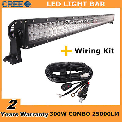 """52"""" 300W Cree Combo LED Light Bar Off-road Driving Lamp 4WD Jeep with Wiring Kit"""