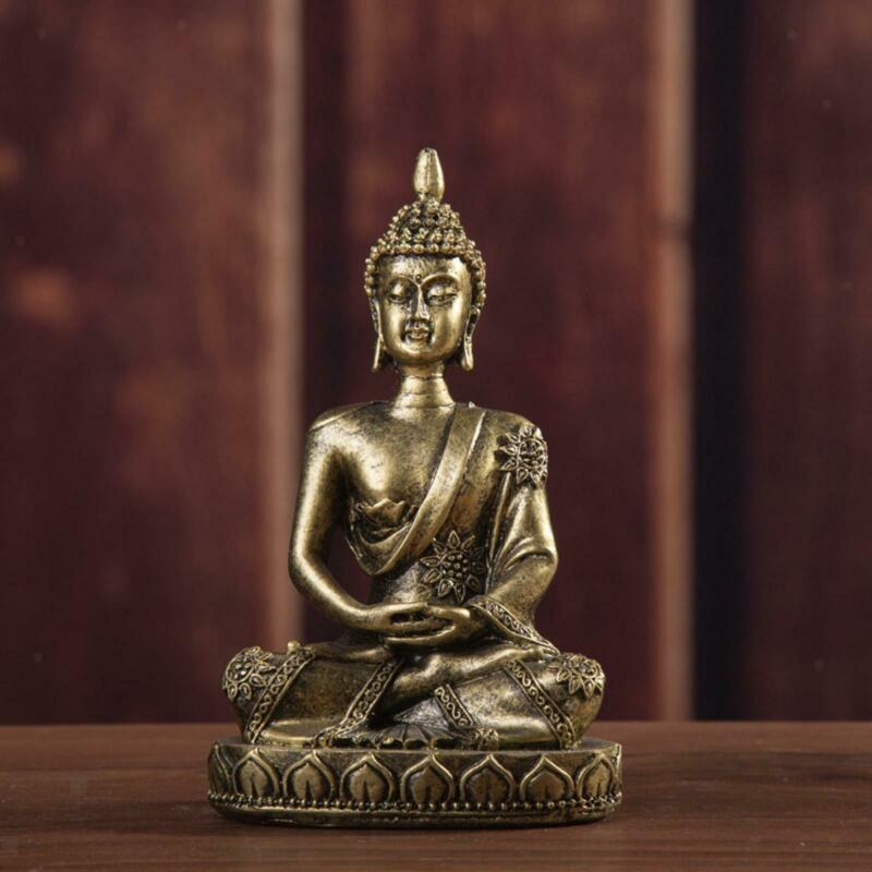 Small Thai Buddha Statue Figurine Sandstone Buddhist Home Decor Bronze