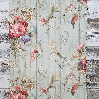 York HA1326 Vintage Victorian Floral Bouquets Bird Rose Blue Parrot (Blue Rose Wallpaper)