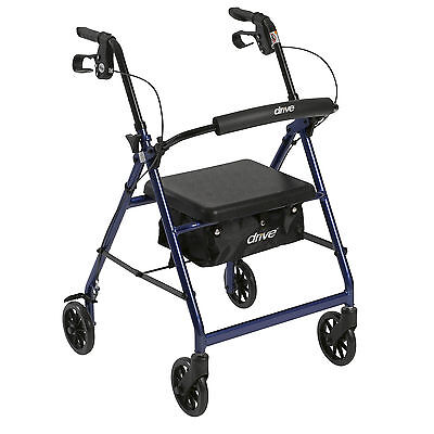 Drive Medical R726BL Walker Rollator with 6 Wheels, Fold Up Removable Back Supp