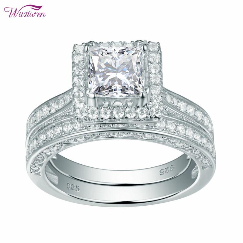 Wuziwen Princess White Aaaa Cz 925 Sterling Silver Wedding Engagement Ring Sets