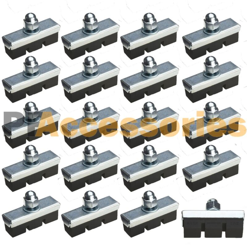 20 Pcs 10 Pairs High Grade Cycling Bicycle Bike Bolt On Brake Pads 40mm Rubber