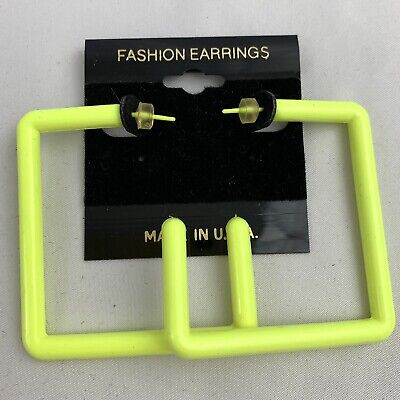 Vintage Neon Square Big Hoop Earrings Large Statement Yellow Plastic NOS 80s 90s