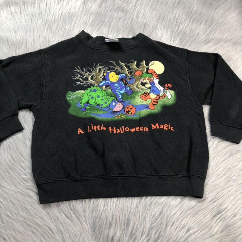 Vintage Childrens Disney Store 90s Black Winnie The Pooh Halloween Sweater Small