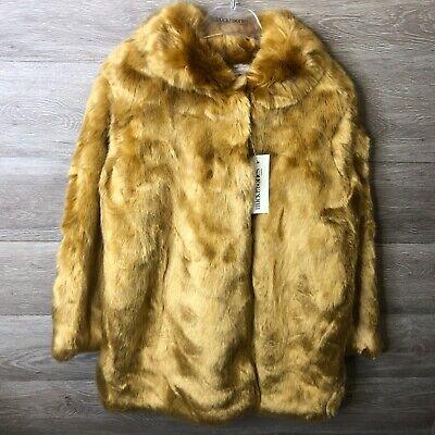 Hucklebones London Girls Size 10 Years Gingerbread Faux Fur Coat NWT