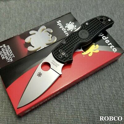 Spyderco Native 5 Lightweight S30V Satin Plain Blade Black FRN Handles C41PBK5