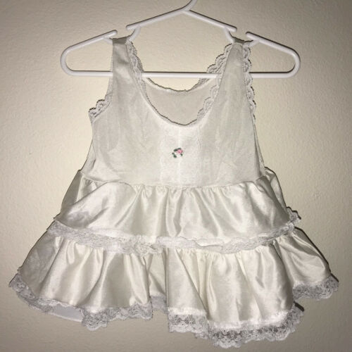 Vintage Baby Girls Slip Under Dress White Nylon Lace Trim Mesh Layers 12 Months