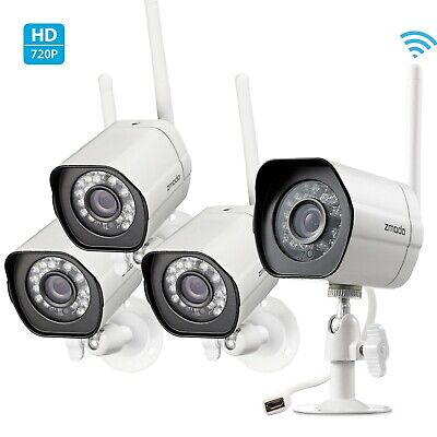 Zmodo 720p WiFi Security Camera System (4 Pack)Outdoor Indoor Home Night Vision