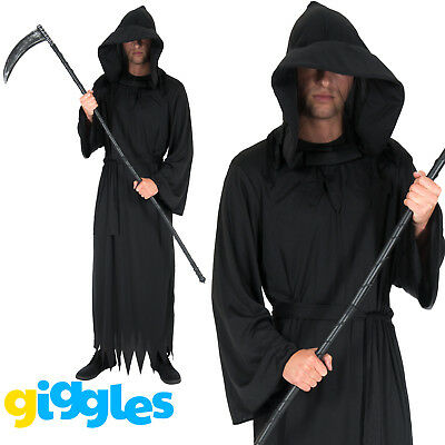 Mens Grim Reaper Costume Ghoul Robe Death Scary Horror Halloween Fancy - Mens Halloween Fancy Dress