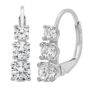 2 6ct 3 Stone Round Cut Solitaire Earrings 14k White Gold Past Present Future
