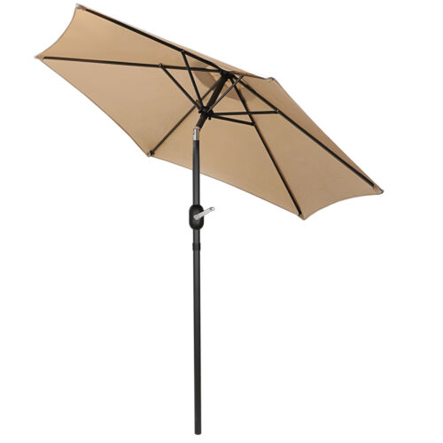7.5FT Deluxe  Patio Umbrella W/ Button Tilt /Crank Adjustment  Tan 6 Ribs Garden Structures & Shade
