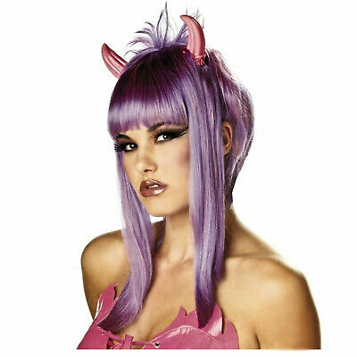 EDM Women's Devil Cupid Costume Wig Purple Pink Attached Horns Halloween Girl](Cupid Halloween Costume)