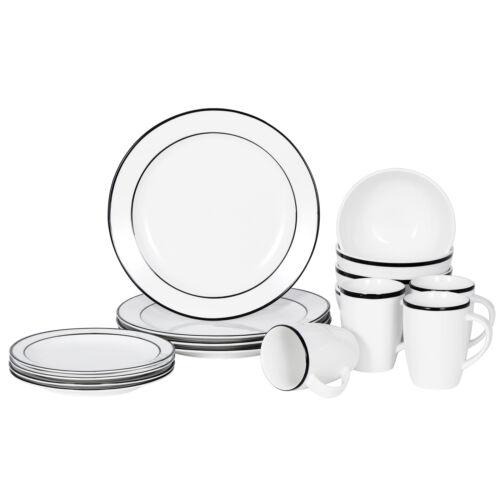 Dinnerware Set 16 Piece Plates Kitchen Dishes Dinner Bowls Mugs 4 Service Black Dinner Service Sets