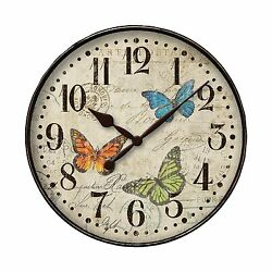Westclox Round Butterfly Wall Clock 12 Free Shipping