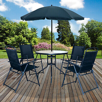 6PC Garden Patio Furniture Set Outdoor Black 4 Seater Large Round Table Parasol