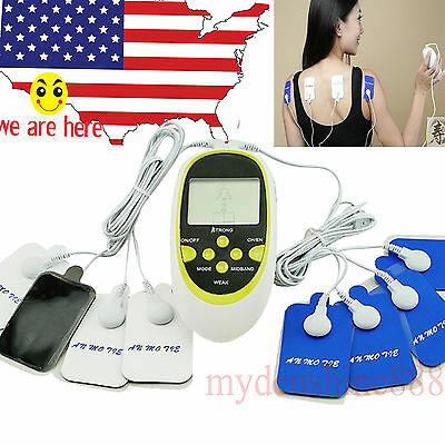 Digital Therapy Machine Pulse Acupuncture Massager W 8 Pads Body Charger By Usa