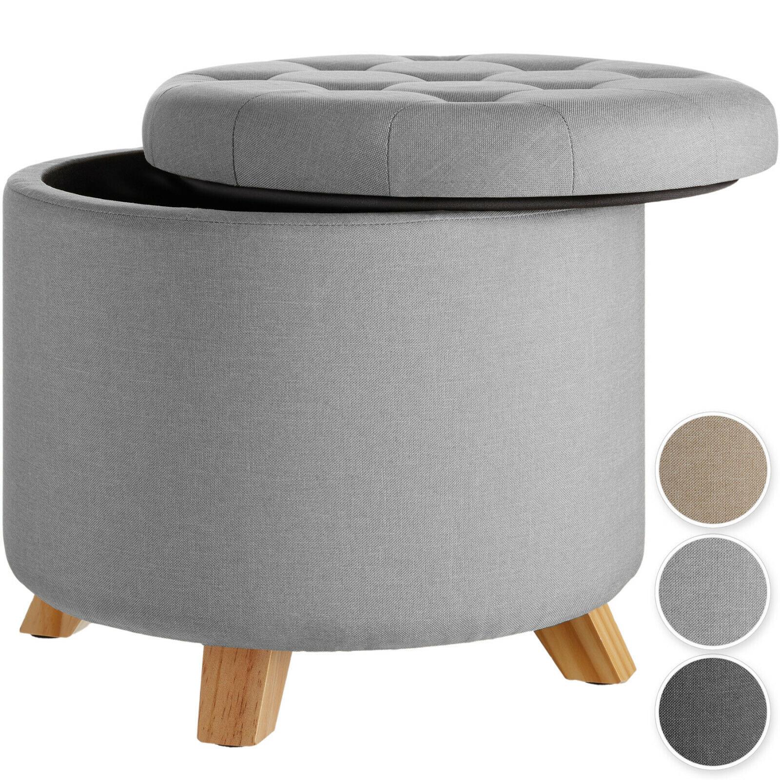 Sitzhocker mit Stauraum Fußhocker Polsterhocker Aufbewahrungsbox Leinen rund