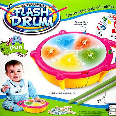Elektronische Kinder Baby Spielzeug Musik Drum Trommel Schlagzeug LED + 2 Sticks