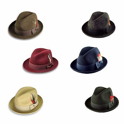 Men's Fashion 100% Wool Fedora Trilby Mobster Hat