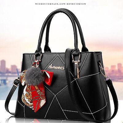 Leder Tasche Tragetasche (Schwarz Leder Damentasche Handtasche Schultertasche Mädchen Tasche Tragetasche)