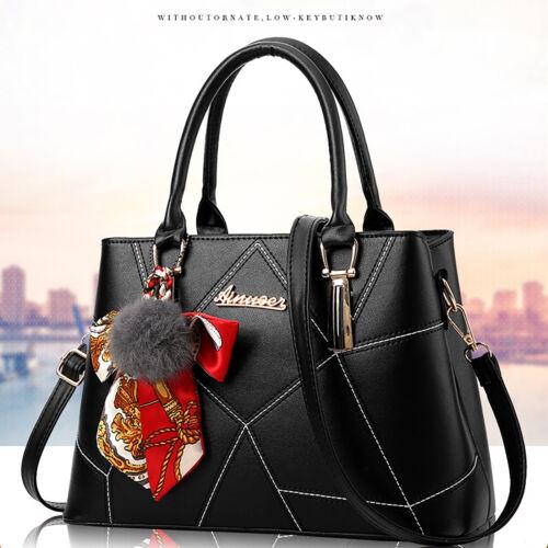 Schwarz Leder Damentasche Handtasche Schultertasche Mädchen Tasche Tragetasche