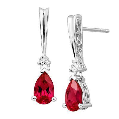 2 1/3 ct Ruby Tear Drop Earrings with Diamonds in Sterling Silver