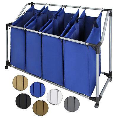 Wäschesammler Wäschesortierer mit vier Fächern Wäschewagen Wäschekorb