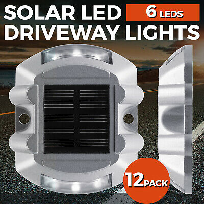 12 Pack 6 LEDs Solar Dock Light Solar Power LED Lights Road Driveway Pathway New Solar Driveway Lights