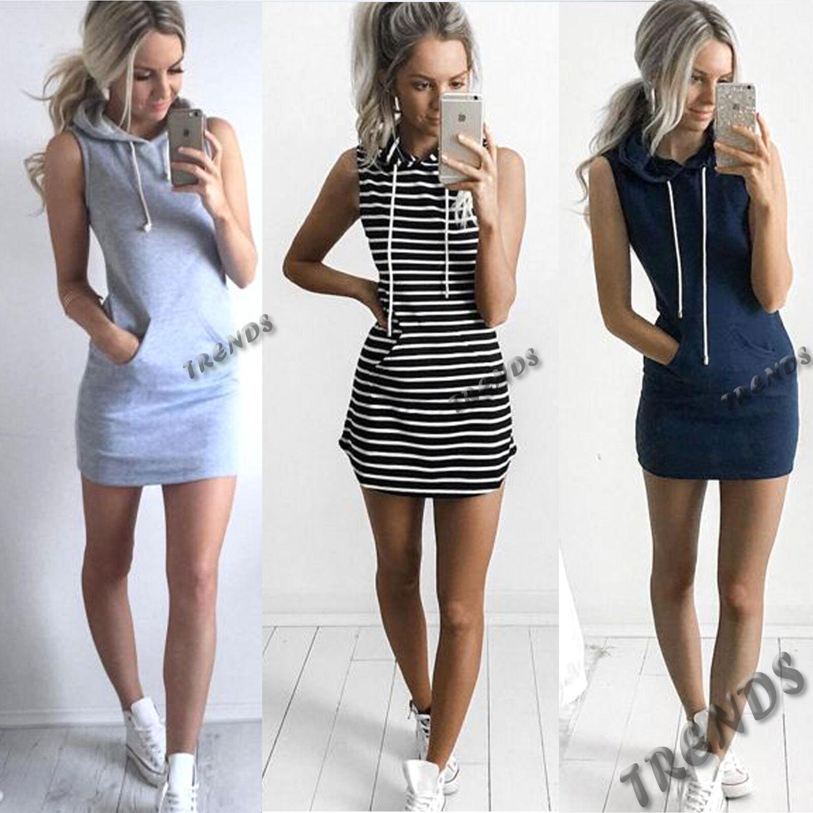 UK Womens Slim Bodycon Summer Bandage Mini Dress Ladies Hoodie Tops Size 6-14