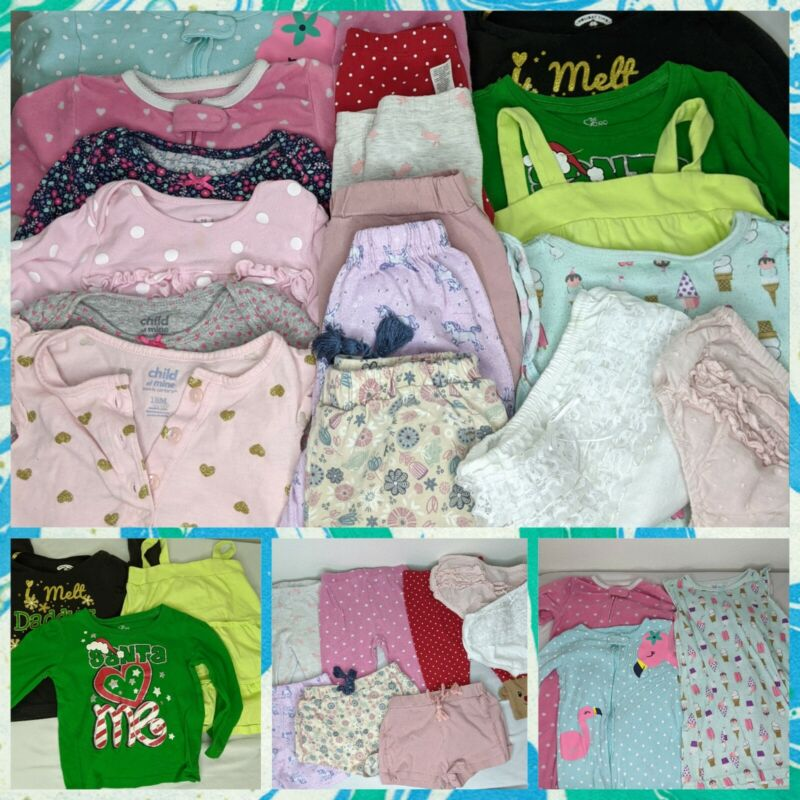 Girls Clothing Lot Of 18 Pieces Toddler 18 And  24 Months Children *read