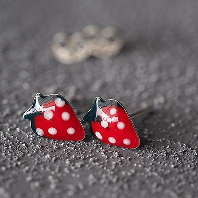 Neu 925 Silber OHRSTECKER ERDBEEREN ERDBEERE rot/grün KINDER OHRRINGE Strawberry