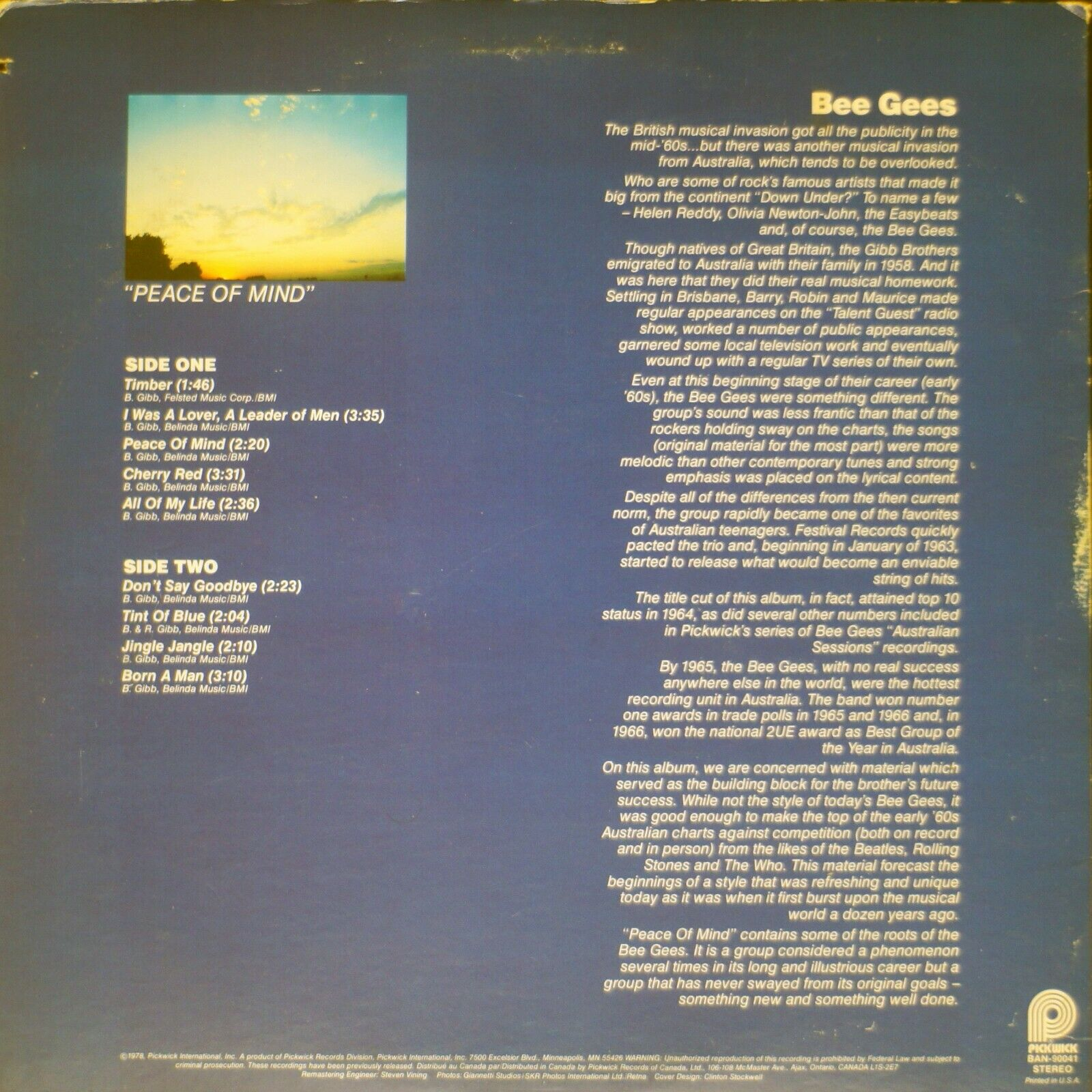 Bee Gees - Peace Of Mind NM/VG 07-1497 Vinyl LP - $12.00