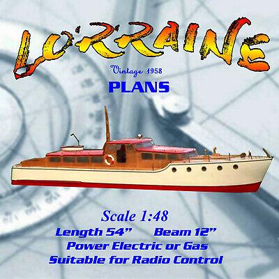 "Full Size Printed Plan Elegant motor yacht Scale 1:48 ""lorraine"" for R/C for sale  Uxbridge"