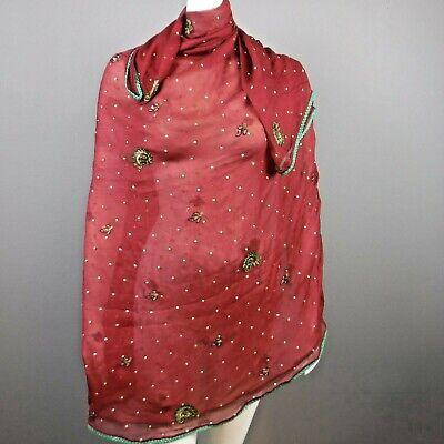 Vtg Dupatta Long Stole Chiffon Silk Maroon Scarf Beaded Shawl Veil 83 x 44 1/2