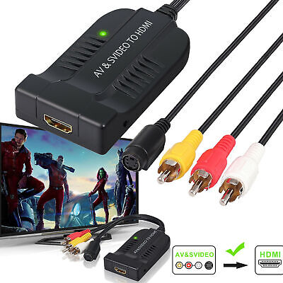 Macho AV CVBS S-Video Convertidor 3RCA a HDMI Adaptador 1080P con Micro...