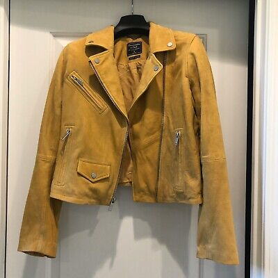 New Abercrombie Suede Moto Jacket In Buttercup
