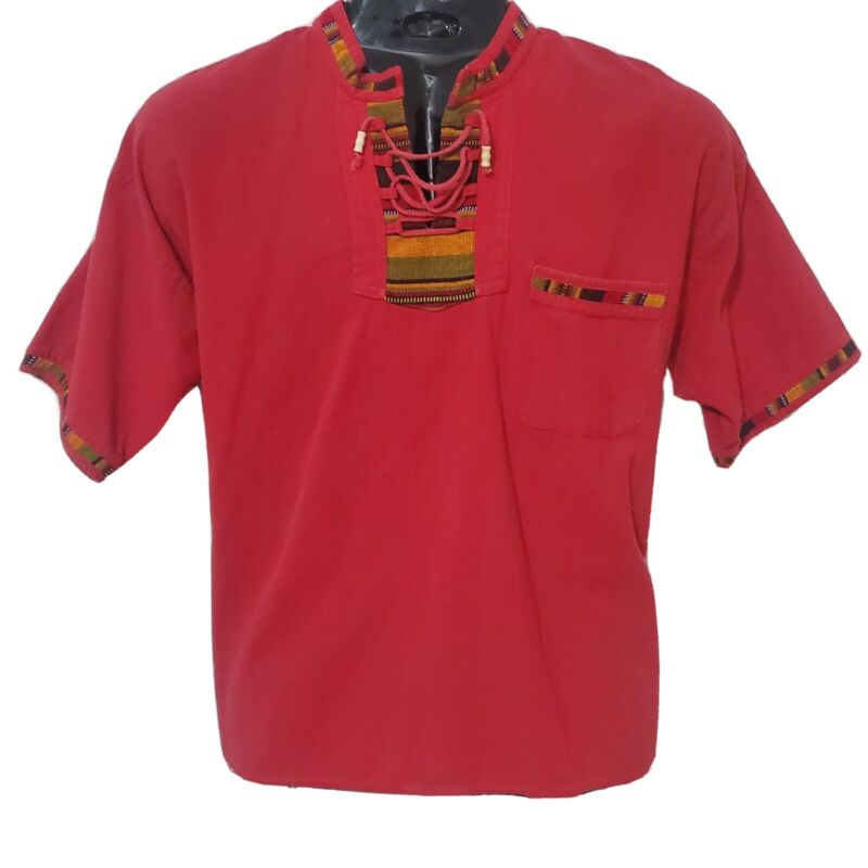 African Vintage Red Unisex Shirt/Top with Drawstring in Embroidery