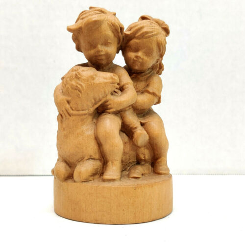 Children with Lamb Wood Carving Figurine Heigl Geschenkhaus Oberammergau VTG