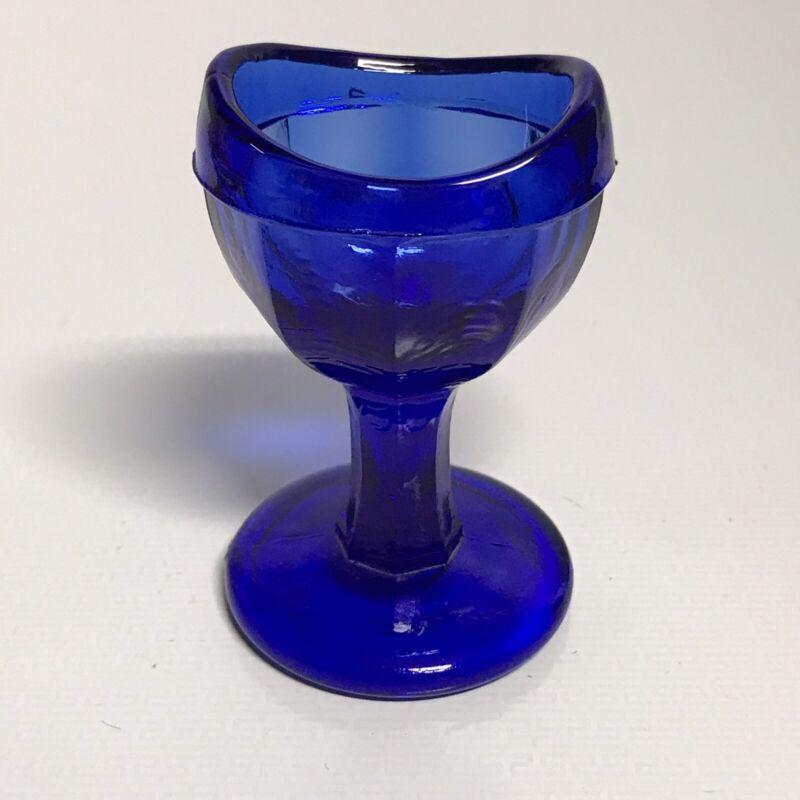 """Vintage 2-1/2"""" Cobalt Glass Eye Rinser Footed"""