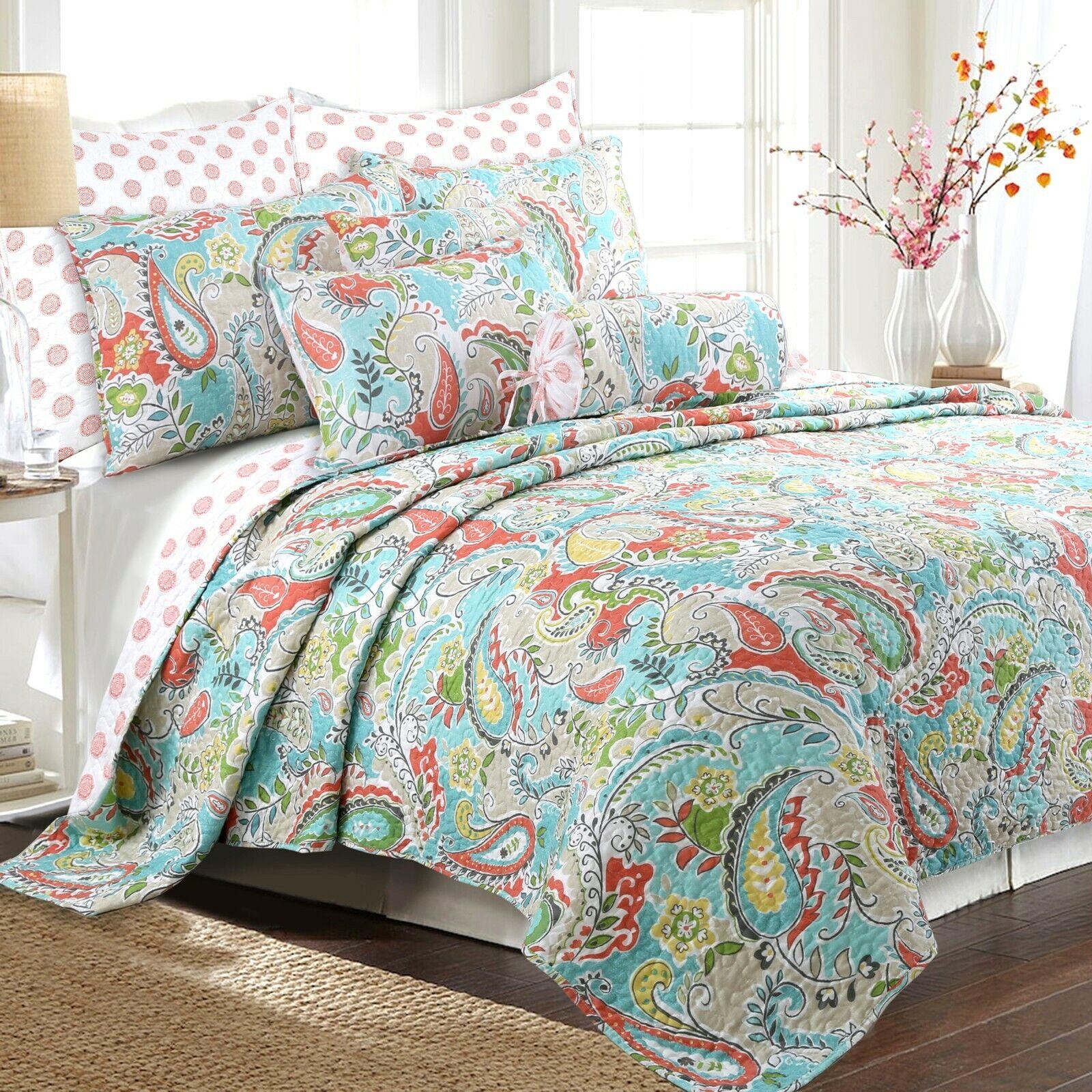 Mirage Paisley 3-Piece Reversible Quilt Set, Bedspread, Cove