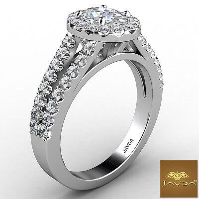 Halo Split Shank Oval Shape Diamond Engagement French Pave Ring GIA I SI1 1.47Ct 6