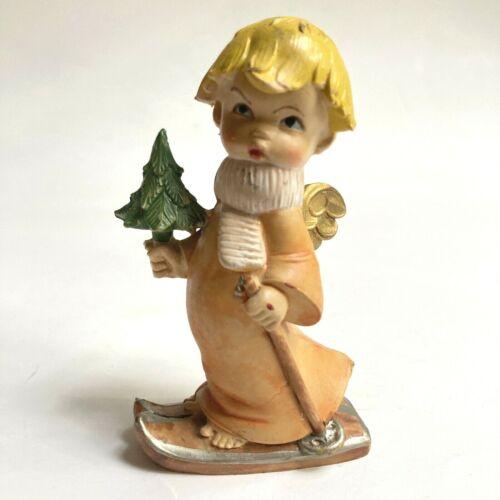 Vintage Italy Figurine Boy Angel Skiing Skier with Christmas Tree Resin Italian