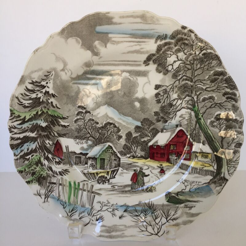 """J&G Meakin Vintage Welcome Home Dinner Plate 10"""" Thanksgiving Christmas Winter"""