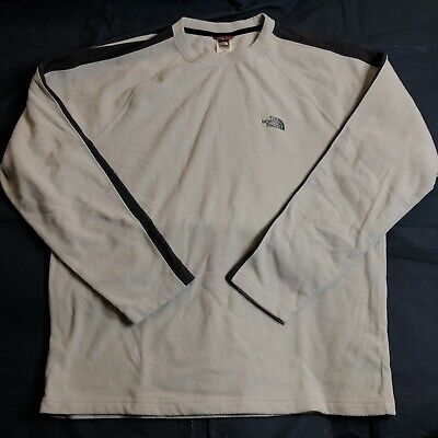 North Face Men's Beige Fleece Pullover Shirt Outdoor Casual Long Sleeves Large