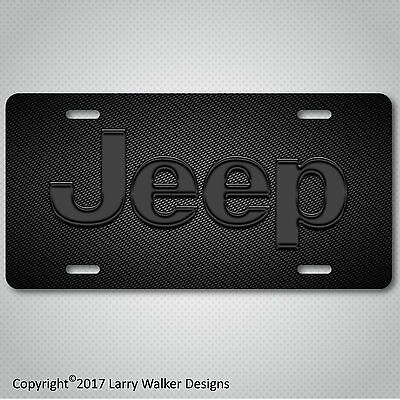 Black Acrylic License Plate (JEEP Black Acrylic on Carbon Fiber Look Aluminum License Plate Tag)
