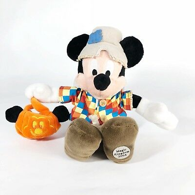 Disney Mickey Mouse Scarecrow Costume Magic Kingdom Halloween Beanbag Plush NMWT - Mickey Mouse Halloween Magic Kingdom