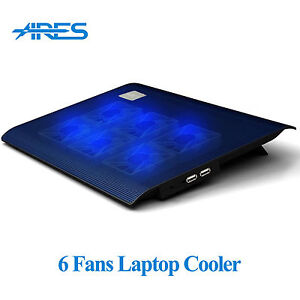 Ares N2 6 Fans Laptop Cooler Notebook Cooling Pad Stand Blue LED F/ 12