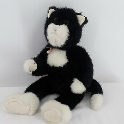 """The Boyd's Collection JB Bean Series 1985-93 Black White Cat Retired 14"""" Plush"""