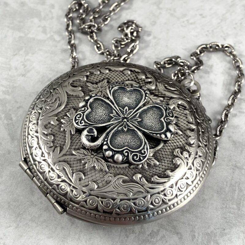 Irish SHAMROCK 4 Leaf Clover LOCKET Necklace CELTIC Antique Silver pltd, QUALITY