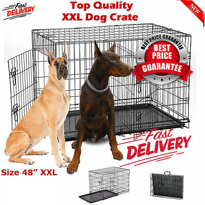 """48"""" Dog Crate Kennel Folding Metal Pet Cage 1-2 Door Indoor Outdoor Black"""